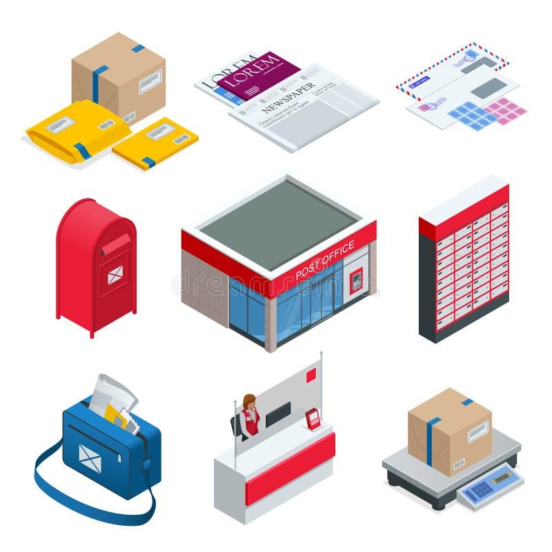 Isometric set urząd pocztowy, listonosz, koperta, skrzynka pocztowa i inni atrybuty usługi pocztowe, punkt korespondencja ilustracji