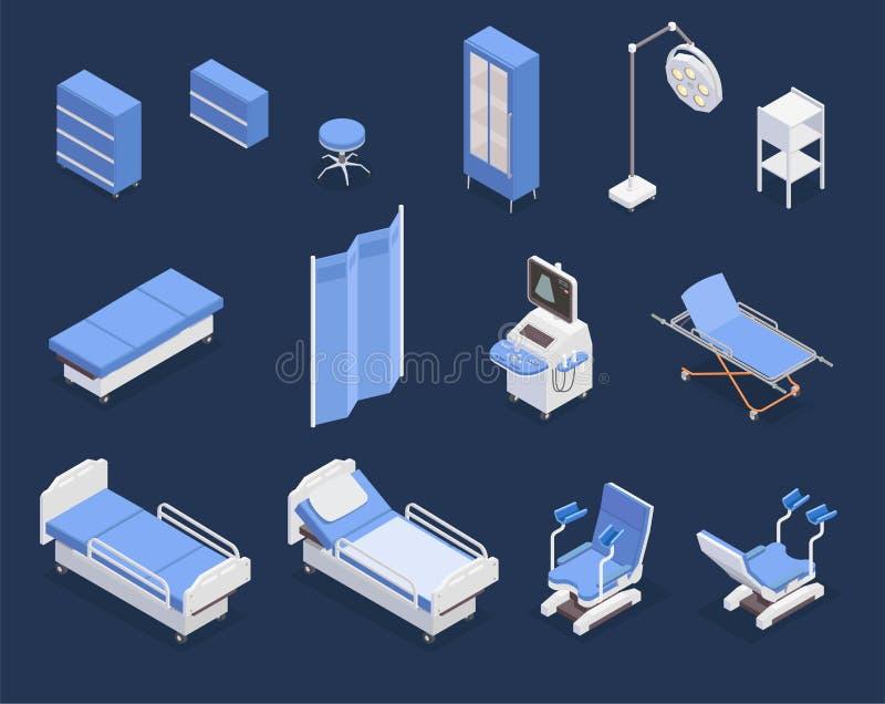 Medical Equipment Isometric Icons Set royalty free illustration