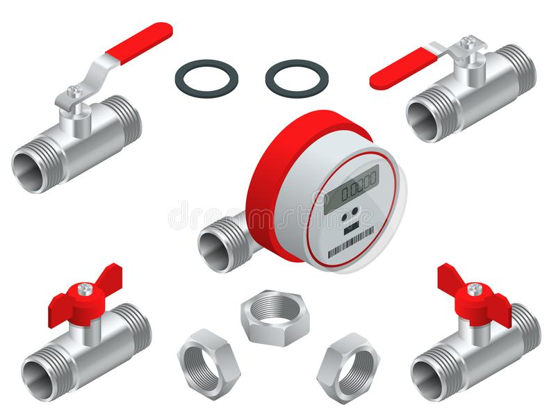 Isometric set of water meter for warm water with pipeline. Vector illustration Counters isolated on white background. Sanitary equipment. Plumbing Valves royalty free illustration