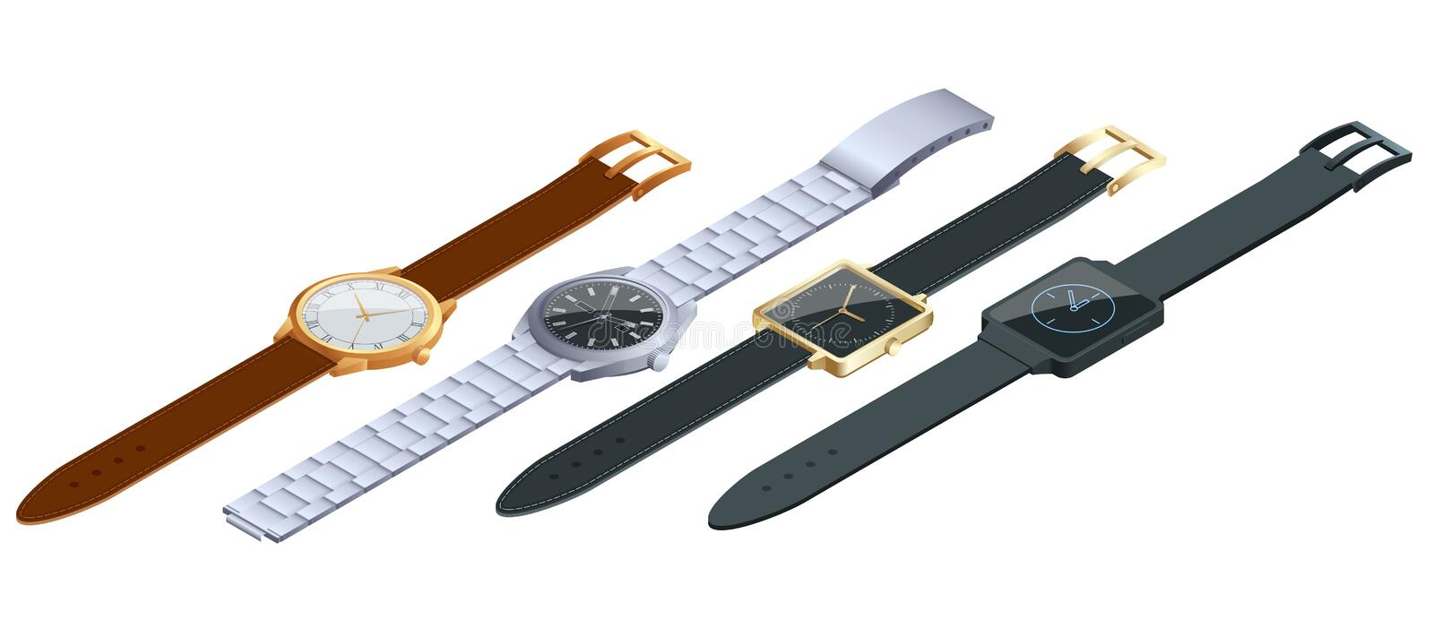 Isometric set of of wristwatches on white background. Time on wrist watch concept. Flat 3d vector illustration. Isometric set of of wristwatches on white stock illustration