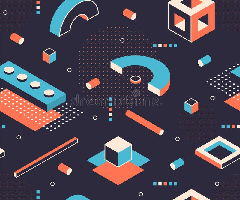 Isometric shapes pattern. Geometric minimal background, abstract construction graphic elements. Vector isometric poster. Isometric shapes pattern. Geometric stock illustration