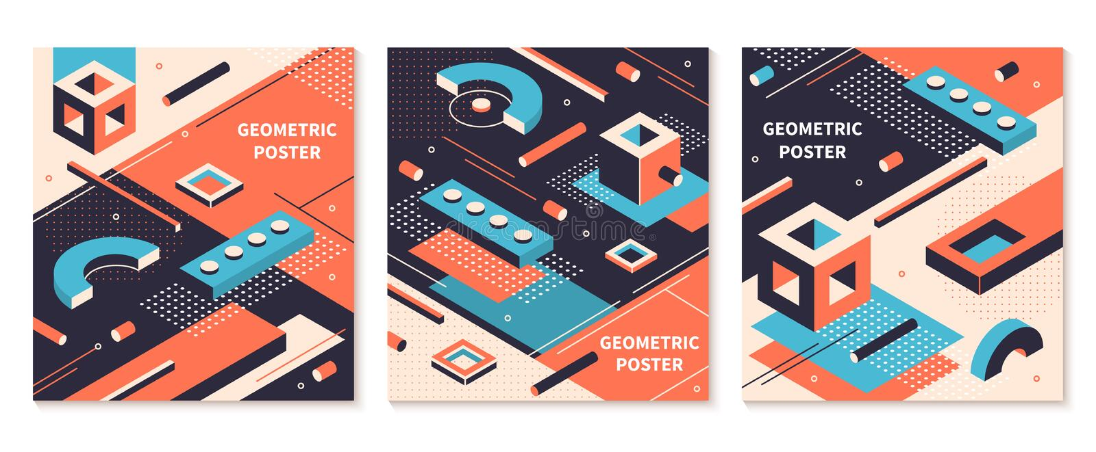 Isometric shapes poster. 3D abstract geometric brochures, futuristic technology backgrounds. Vector isometric cover set stock illustration