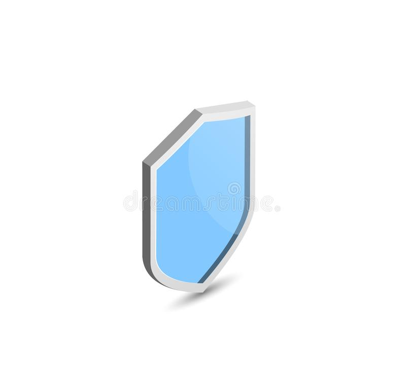 Isometric shield. Blue vector. Protect. Security illustration vector illustration
