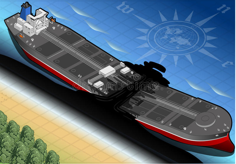 Isometric Ship Tanker Destroyed in Two Parts in Front View royalty free illustration