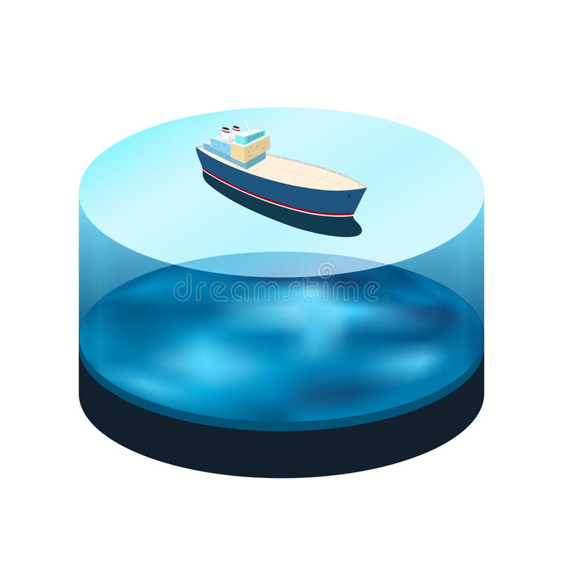 Isometric ship on the water. A top view of a cargo ship in the sea, water as a cylinder with a ocean bed , vector illustration stock illustration