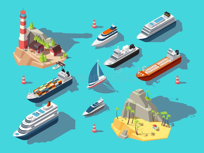 Isometric ships. Boats and sailing vessels, ocean tropical island with lighthouse and beach. 3d vector illustration stock illustration