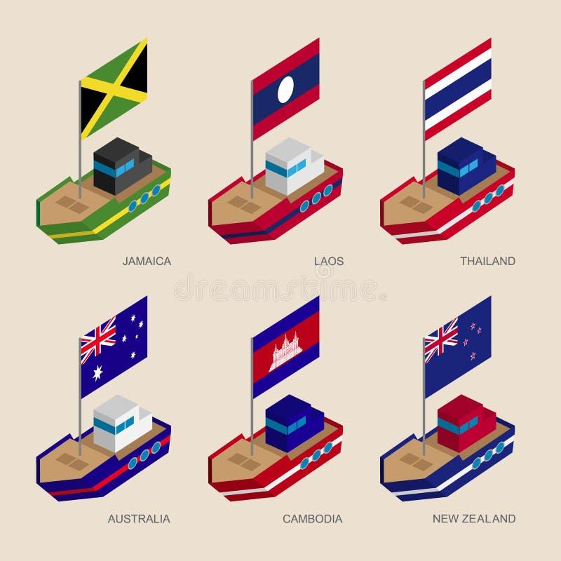 Isometric ships with flags: Cambodia, Australia, New Zealand, Laos, Thailand, Jamaica royalty free illustration