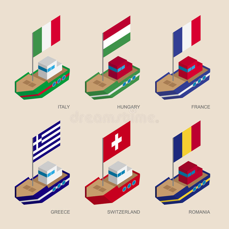 Isometric ships with flags: France, Romania, Hungary, Italy, Switzerland, Greece royalty free illustration