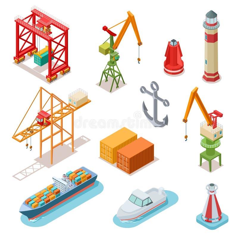 Isometric ships. Sea transport maritime terminal shipping logistics port seaport crane ship shipping nautical barge 3d vector illustration