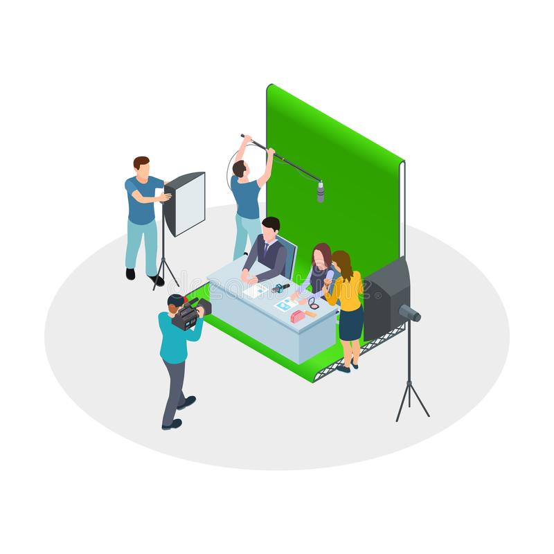 Isometric shooting TV show. Vector TV hosts, make-up artist, film crew. Show production, news channel. Tv isometric show, camera and television program royalty free illustration