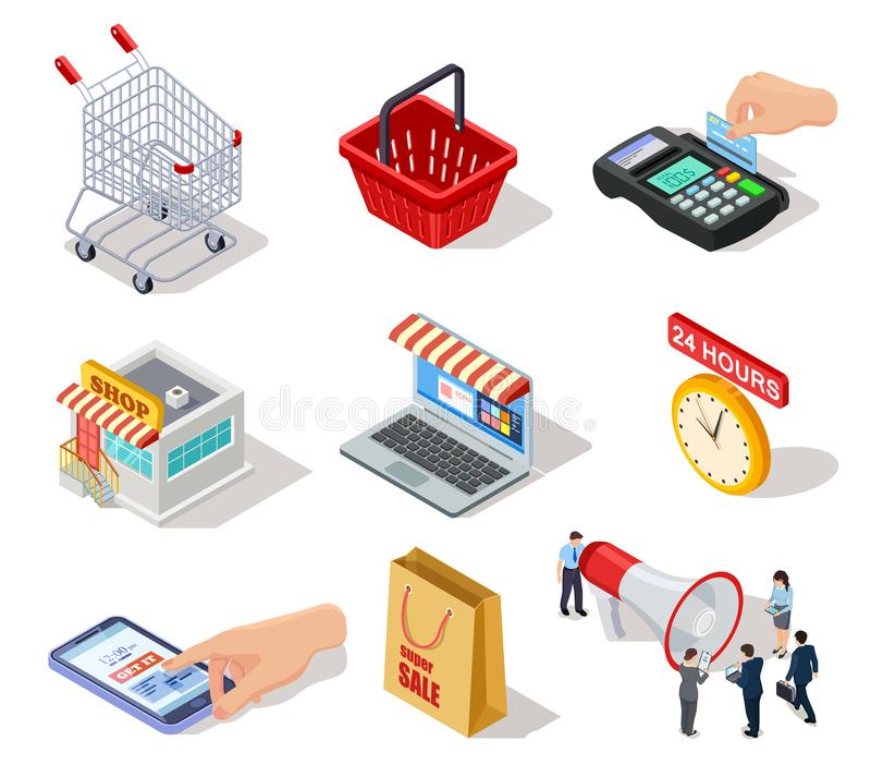 Isometric shopping icons. Ecommerce store, online shop and internet purchasing 3d vector marketing symbols. Web online sale, cart and laptop royalty free illustration