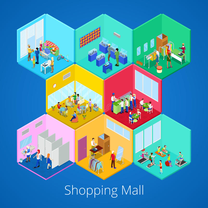 Isometric Shopping Mall Interior with Gym Fitness Club Boutique and Clothes Store stock illustration