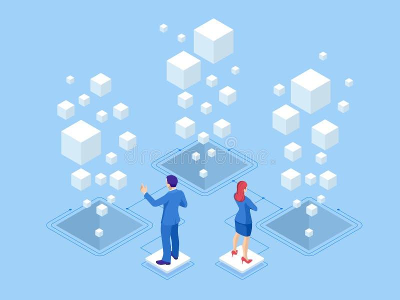 Isometric sieć sztandaru dane statystyk i analizy pojęcie Wektorowe ilustracyjne biznesowe analityka, dane unaocznienie royalty ilustracja