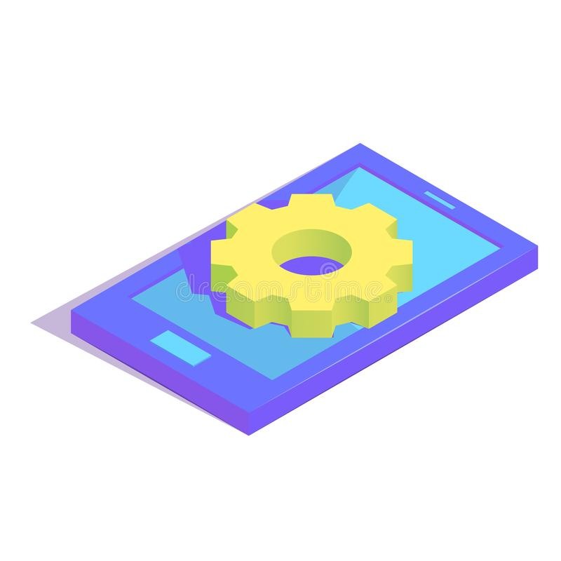 Isometric simple icon. Isometric settings gear on smartphone simple icon. software installation concept vector illustration royalty free illustration