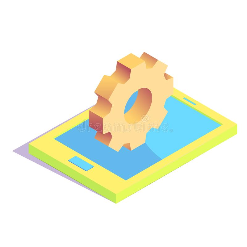 Isometric simple icon. Isometric settings gear on tablet simple icon. software installation concept vector illustration vector illustration