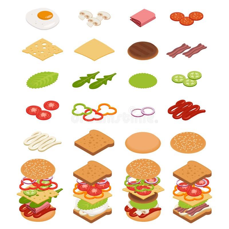 Isometric składniki dla hamburgerów i kanapek ilustracja wektor