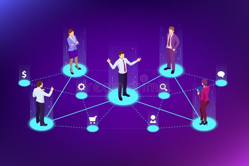 Isometric skierowanie marketing, sieć marketing, skierowanie programa strategia, nawiązywać do przyjaciół, biznesowy partnerstwo ilustracji
