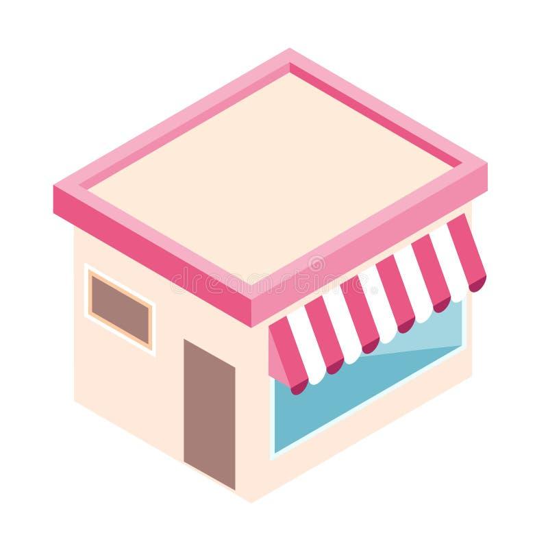 Isometric sklep w mieszkanie stylu Biznesowego projekta wektorowa ilustracja dla cyfrowego marketingu ilustracja wektor