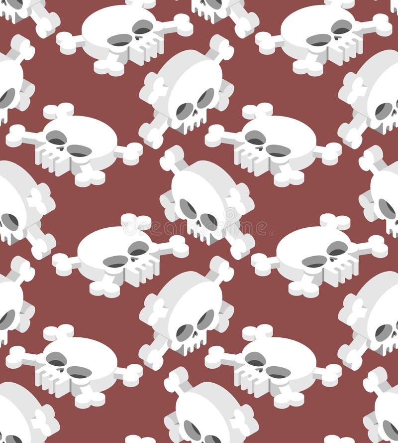 Isometric Skull seamless pattern. Head skeletal pattern. Crossbones texture. remains background stock illustration