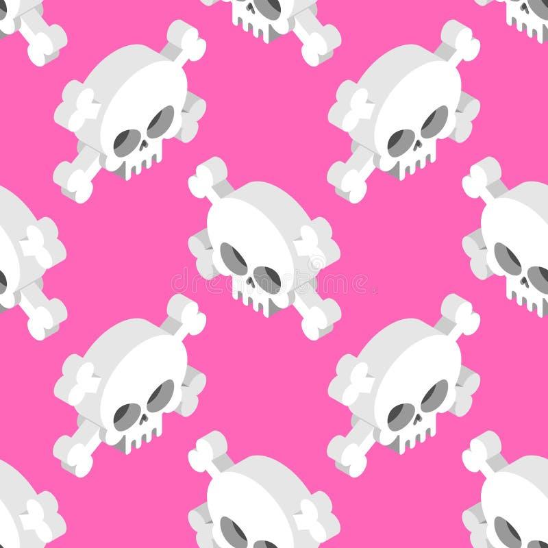 Isometric Skull seamless pattern. Head skeletal pattern. royalty free illustration