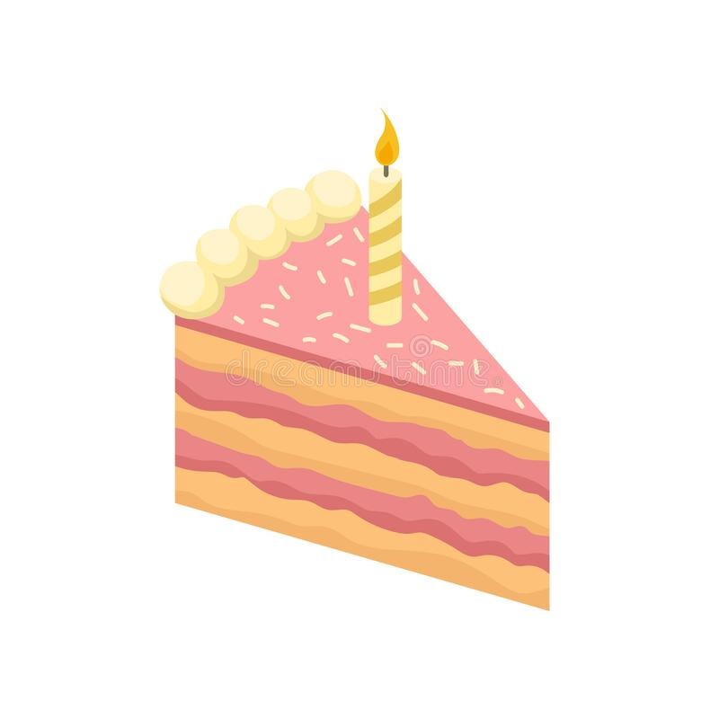 Isometric slice of delicious cake with burning candle. Tasty birthday dessert. Sweet food. Vector element for postcard. Isometric slice of delicious cake with royalty free illustration