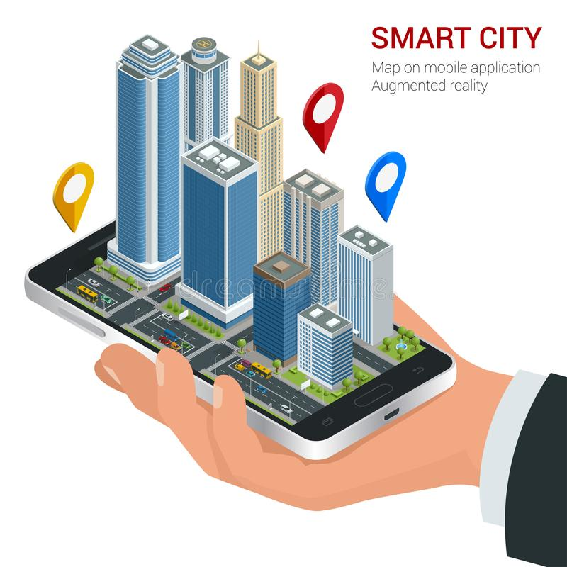 Isometric Smart City concept. Mobile gps navigation and tracking concept. Hand holding smartphone with city map path and stock illustration