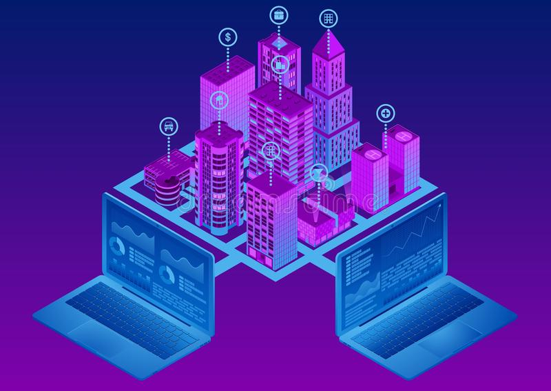 Isometric smart city. The concept of System intelligent control. The plan of the modern metropolis. EPS 10 stock illustration