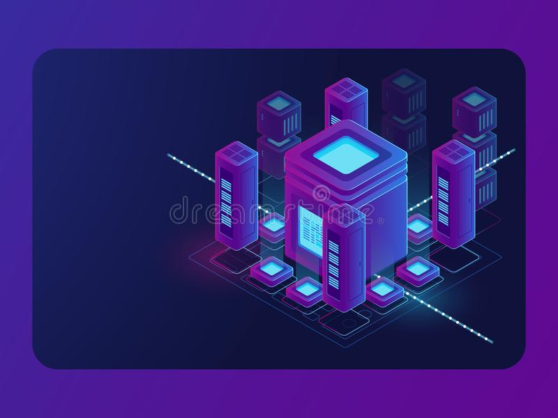 Isometric smart city, digital town, server room, big data flow processing, data center and database warehouse. Cloud storage vector dark ultra violet neon royalty free illustration