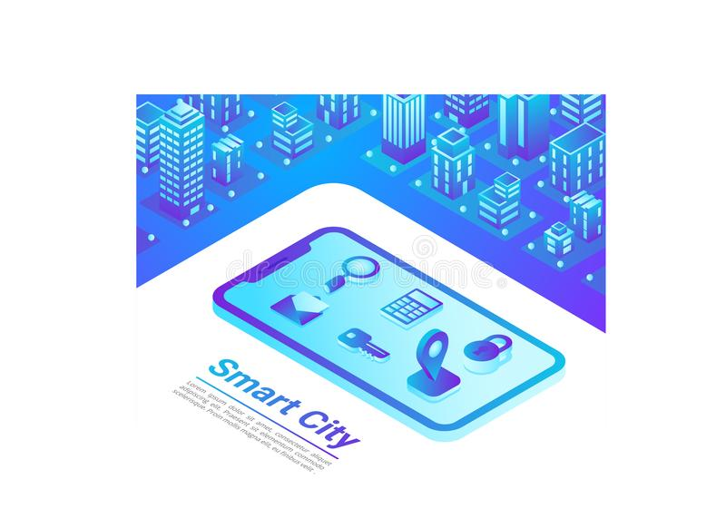 Isometric Smart City Mobile web internet map navig. Isometric Smart City in Mobile web internet map navigation technology vector illustration concept vector illustration