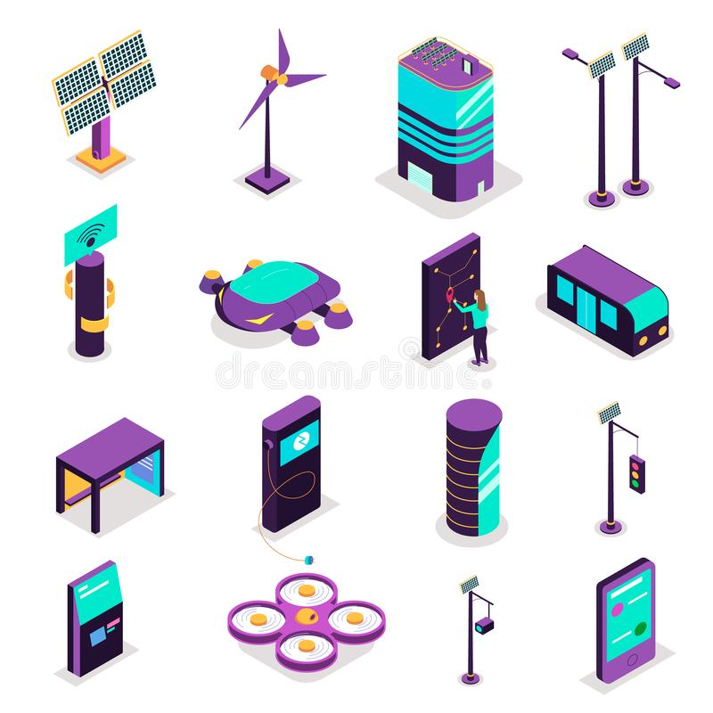 Isometric Smart City Icons vector illustration