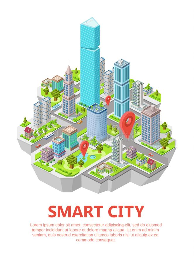 Isometric smart city vector illustration 3d residential infrastructure location and navigation map royalty free illustration