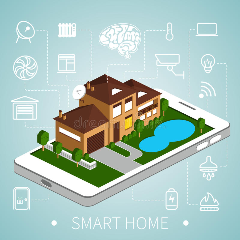 Isometric smart home stock illustration