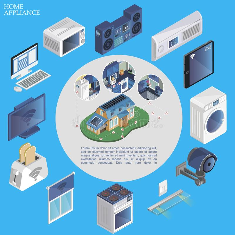 Isometric Smart Home Round Concept. With remote control of microwave music center air conditioner washer jalousie camera stove toaster tv modern devices vector vector illustration