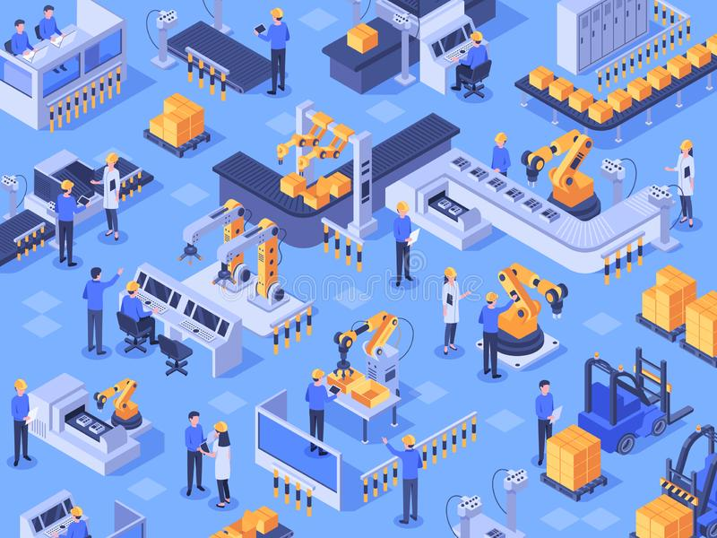 Isometric smart industrial factory. Automated production line, automation industry and factories engineer workers vector stock illustration
