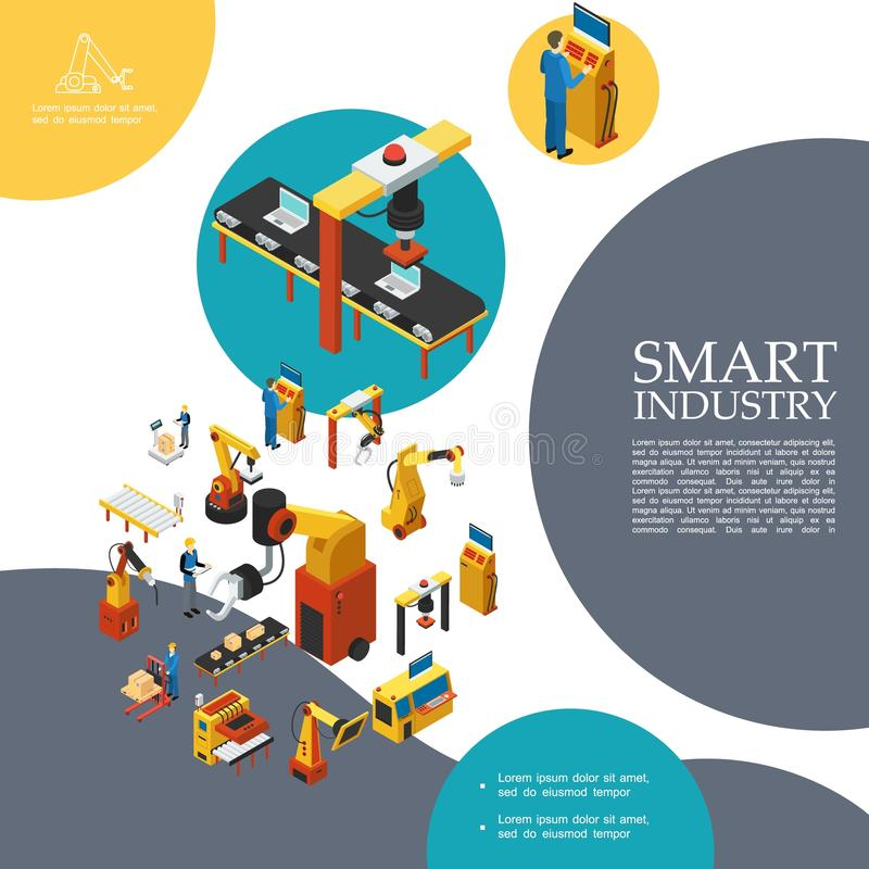 Isometric Smart Industry Colorful Template vector illustration