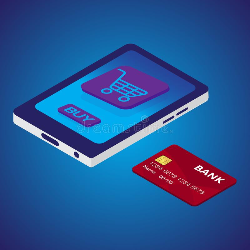 Isometric smart phone and credit card for online shopping. Vector.  vector illustration