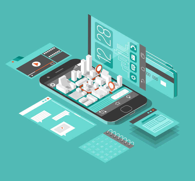 Isometric smart phone interface. Screen with different apps and icons. Map on mobile application. 3d vector illustration stock illustration