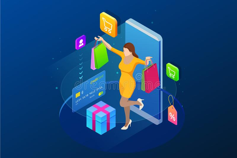 Isometric Smart phone online shopping concept. Online store. Happy girl makes an onlan shopping with a credit card vector illustration
