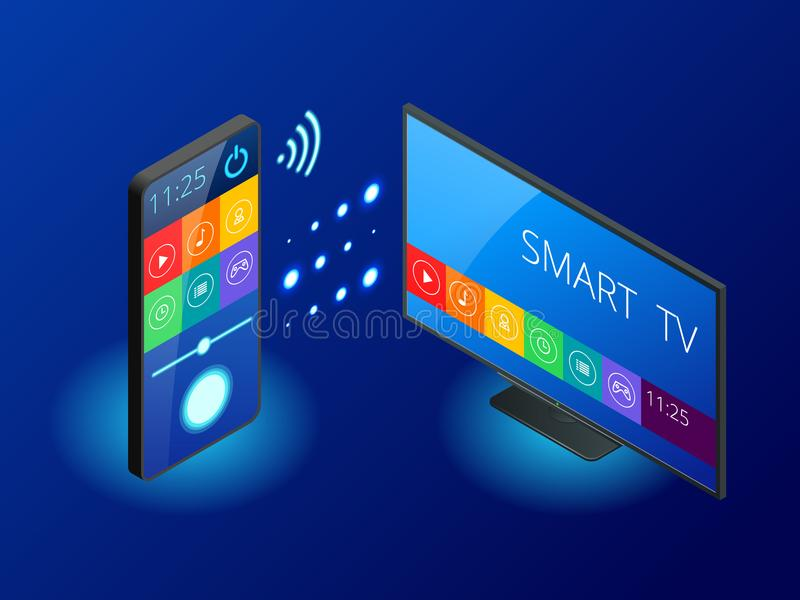 Isometric Smart TV is controlled by a smartphone, transmits information via the cloud. Smart TV interface app. Vector stock illustration