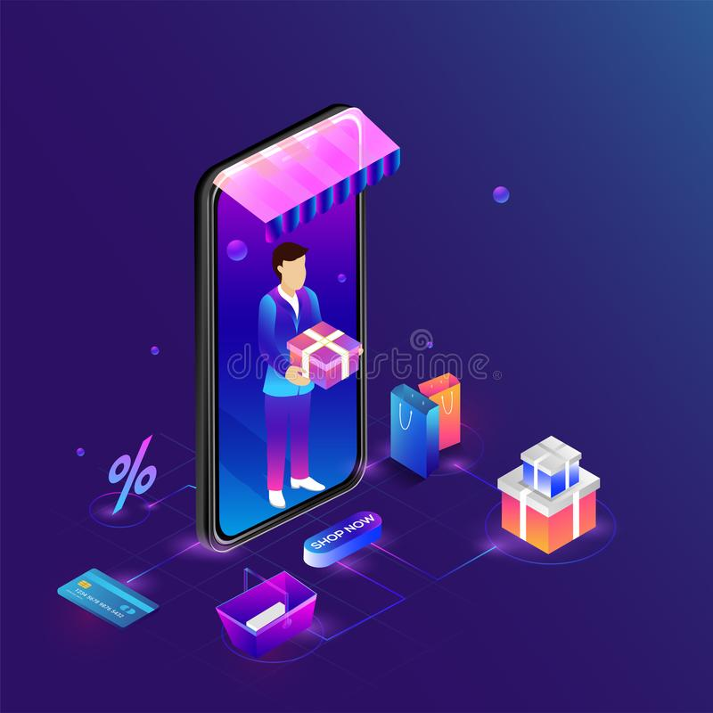 Isometric smartphone με την υπηρεσία εγχώριας παράδοσης, πολλαπλάσιο shoppi διανυσματική απεικόνιση