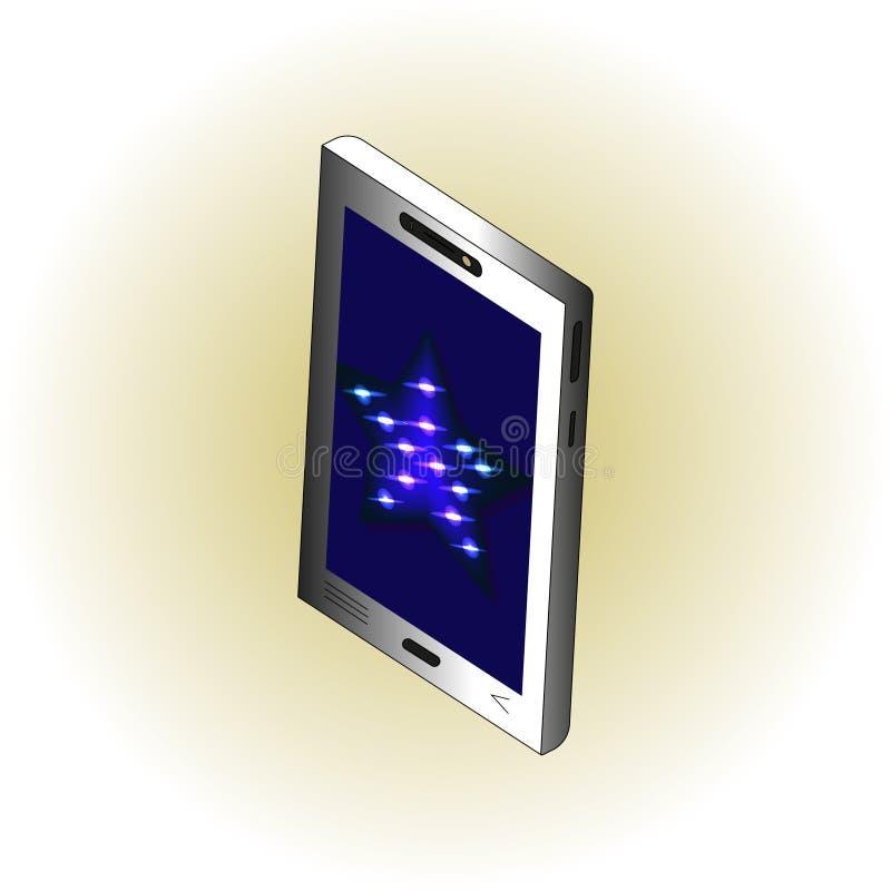 Isometric smartphone με το μπλε αστέρι νέου στην οθόνη ελεύθερη απεικόνιση δικαιώματος