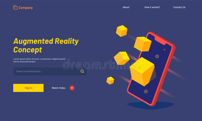 Isometric smartphone with blocks, responsive landing page for Au. Gmented Reality AR concept royalty free illustration