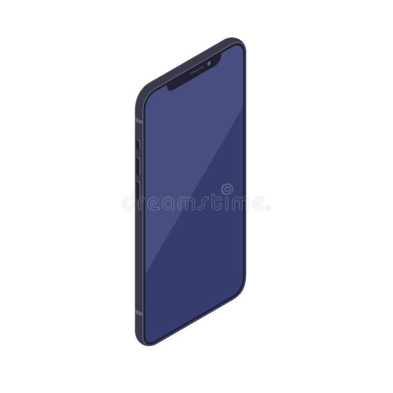 Isometric smartphone isolated on white background. royalty free illustration