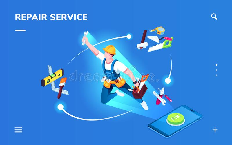 Isometric smartphone repair service application royalty free illustration