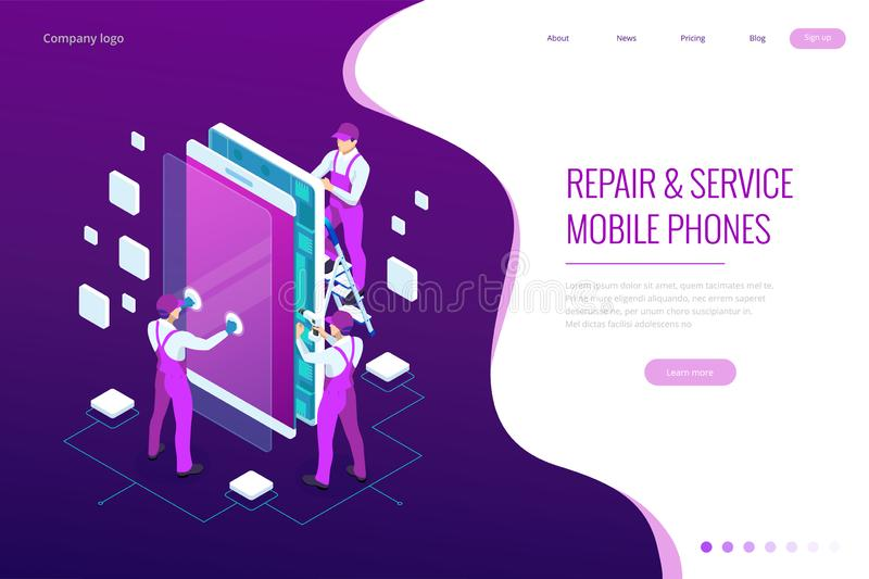 Isometric smartphone repair service concept. Electronics repair service. Same day phone repair landing page website stock illustration