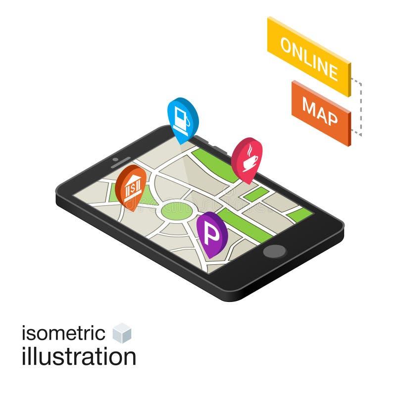 Isometric smartphone z miasto mapą odizolowywającą na bielu ilustracja wektor