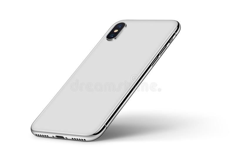 Perspective smartphone similar to iPhone X back side with shadow CW rotated on white background. Perspective smartphone similar to iPhone X back side on white stock illustration