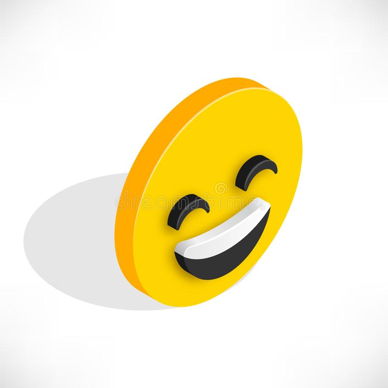Isometric smile icon stock illustration