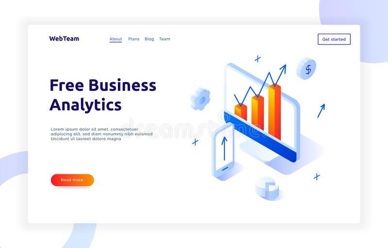 Isometric social marketing gradient style design concept, business analytics website banner. Template vector illustration