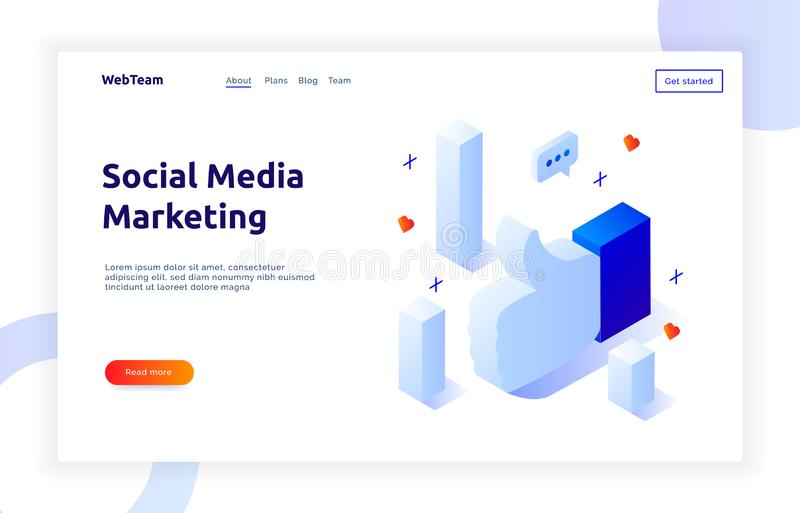 Isometric social marketing gradient style design concept with data bars, hearts, messages, media business analytics website banner. Template stock illustration
